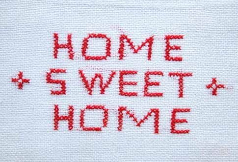 Download billede: Broderi med teksten 'Home Sweet Home'